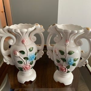 Set of two Floral Vases